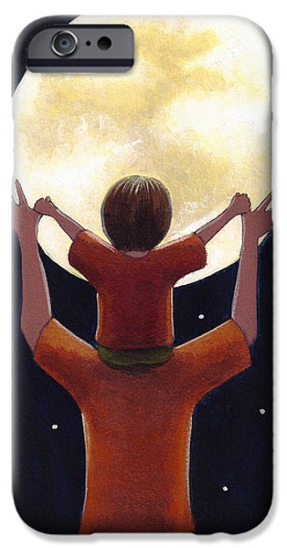 Child Drawings iPhone Cases - Reach the Moon iPhone Case by Christy Beckwith