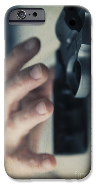 Weapon iPhone Cases - Reaching for a gun iPhone Case by Edward Fielding