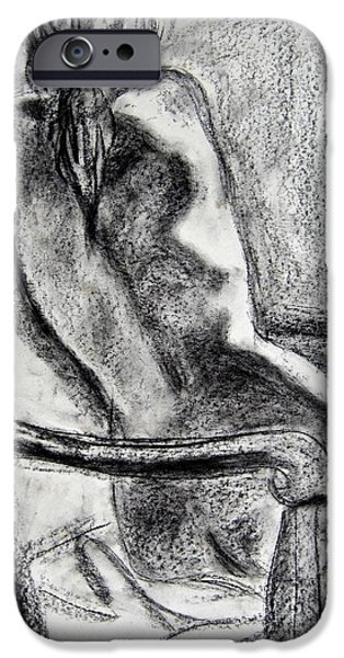 Chair Drawings iPhone Cases - Reaching Out iPhone Case by Kendall Kessler
