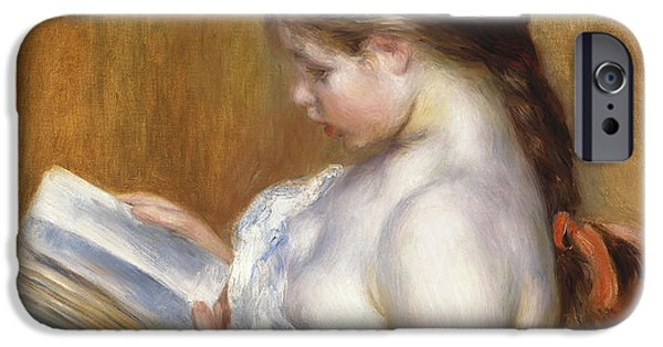 Shoulders iPhone Cases - Reading iPhone Case by Pierre Auguste Renoir