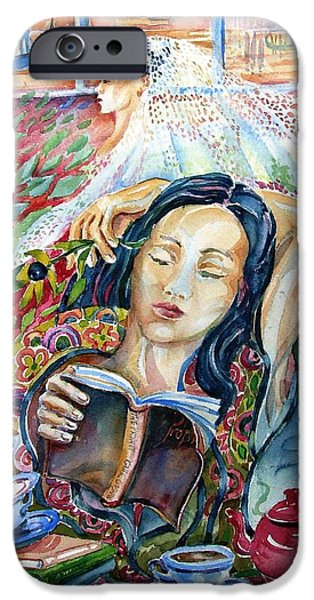 Tea Party iPhone Cases - Reading The Prophet by Kahil Gibran  iPhone Case by Trudi Doyle