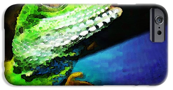 Reptiles iPhone Cases - Ready To Leap - Lizard Art By Sharon Cummings iPhone Case by Sharon Cummings
