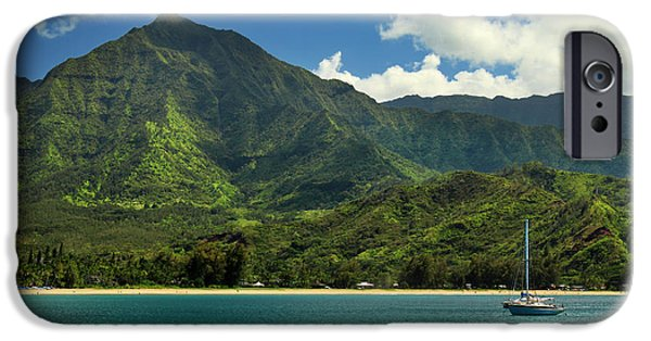 Sailboat Ocean iPhone Cases - Ready To Sail In Hanalei Bay iPhone Case by James Eddy