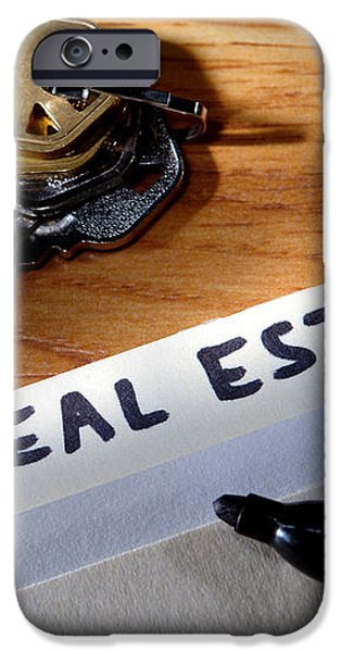 Real Estate File Folder with Marker and House Keys iPhone Case by Olivier Le Queinec