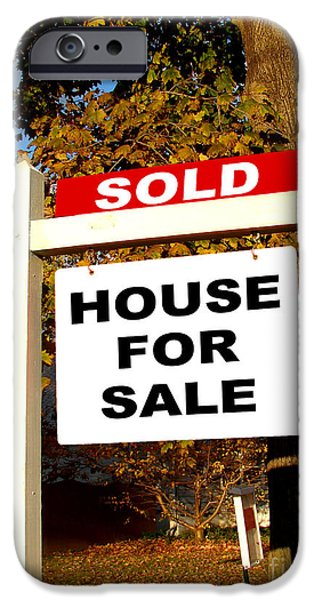 Owner Photographs iPhone Cases - Real Estate Sold and House For Sale Sign on Post iPhone Case by Olivier Le Queinec