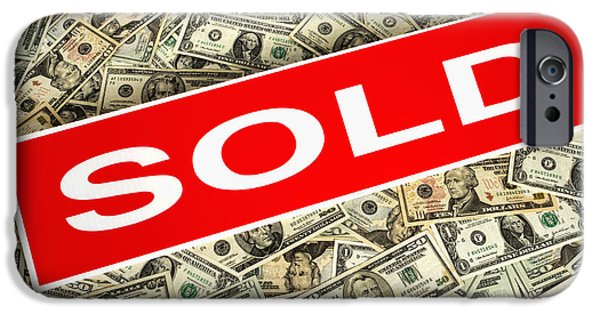 Success Photographs iPhone Cases - Real Estate Sold Sign over Dollar Money Background iPhone Case by Olivier Le Queinec