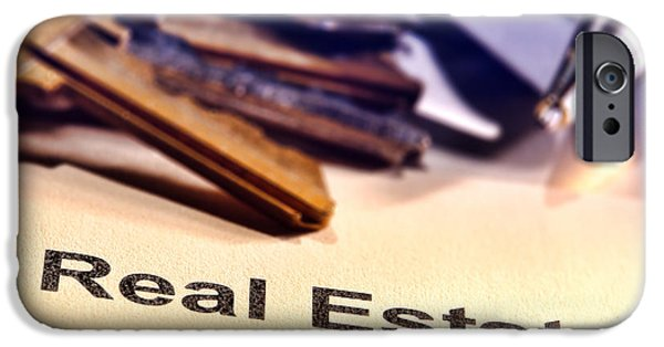 Business iPhone Cases - Real Estate Title Word on a Realtor Contract Page iPhone Case by Olivier Le Queinec