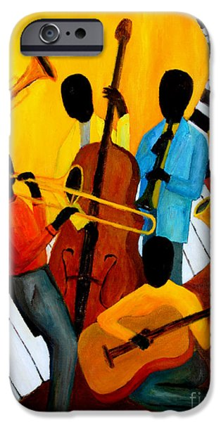 Nashville Paintings iPhone Cases - Real Jazz Octet iPhone Case by Larry Martin