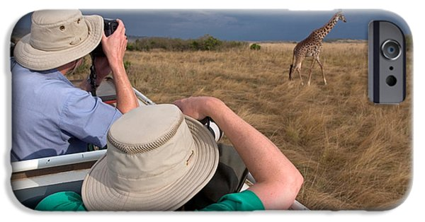 Wildlife Photographer iPhone Cases - Rear View Of Two Safari Photographers iPhone Case by Panoramic Images