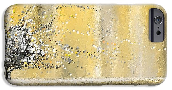 Yellow And Grey Abstract Art iPhone Cases - Reawakening iPhone Case by Lourry Legarde