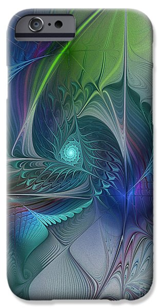 Abstract Expressionism iPhone Cases - Rebirth-Fractal Art iPhone Case by Karin Kuhlmann