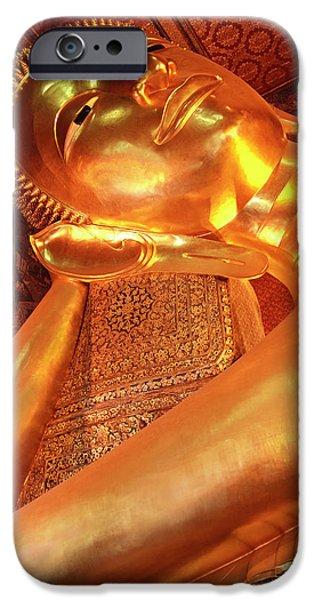 Buddhist iPhone Cases - Reclining Buddha iPhone Case by Adam Romanowicz