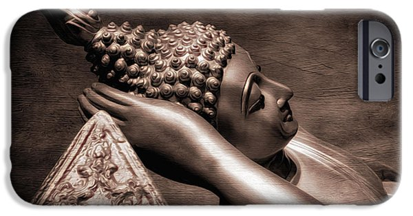 Buddhism Digital iPhone Cases - Reclining Buddha iPhone Case by Adrian Evans