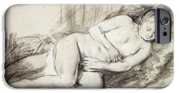Covering Up iPhone Cases - Reclining Female Nude Black Chalk And Bodycolour On Paper iPhone Case by Rembrandt Harmensz. van Rijn