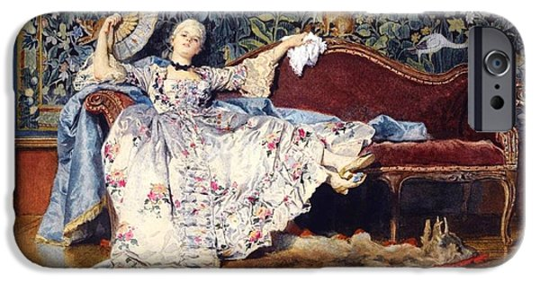 1876 Paintings iPhone Cases - Reclining Lady with fan  iPhone Case by Pg Reproductions