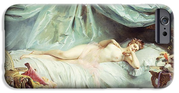 Furniture iPhone Cases - Reclining Nude in an Elegant Interior iPhone Case by Madeleine Lemaire