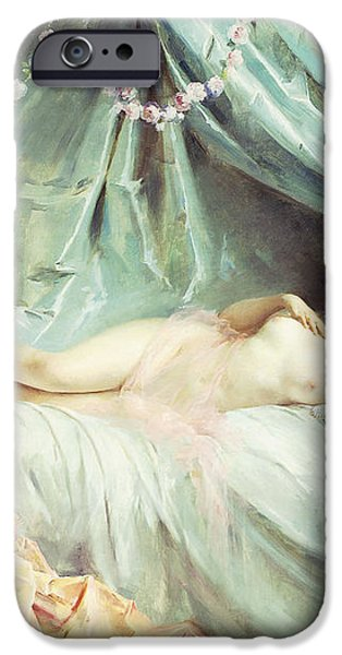 Reclining Nude in an Elegant Interior iPhone Case by Madeleine Lemaire
