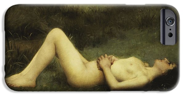 Young Adult iPhone Cases - Reclining Nude iPhone Case by Louis Courtat