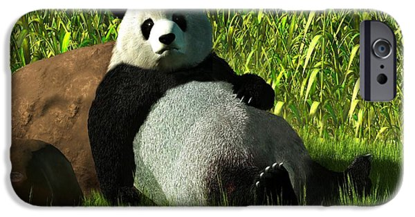 Tuan iPhone Cases - Reclining Panda iPhone Case by Daniel Eskridge