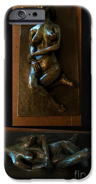Figure Sculptures iPhone Cases - Reclining Woman iPhone Case by Charlie Spear