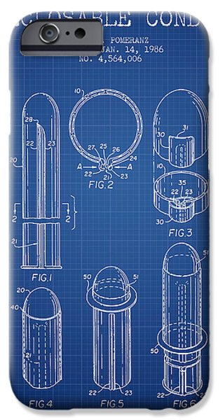Technical iPhone Cases - Reclosable Condom Patent from 1986 - Blueprint iPhone Case by Aged Pixel