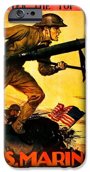 World War One iPhone Cases - Recruiting Poster - WW1 - Marines Over The Top iPhone Case by Benjamin Yeager