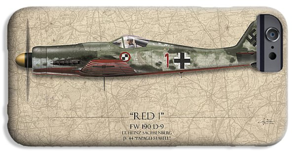 Heinz iPhone Cases - Red 1 Focke-Wulf FW-190D - Map Background iPhone Case by Craig Tinder