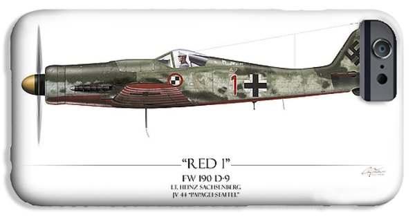 Heinz iPhone Cases - Red 1 Focke-Wulf FW-190D - White Background iPhone Case by Craig Tinder