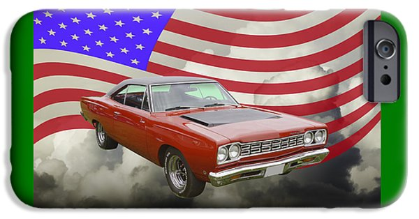 Road Runner iPhone Cases - Red 1968 Plymouth Roadrunner Muscle Car and US Flag iPhone Case by Keith Webber Jr