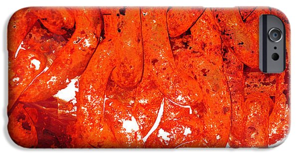 Flames Paintings iPhone Cases - Red Abstract Art - Linked - By Sharon Cummings iPhone Case by Sharon Cummings
