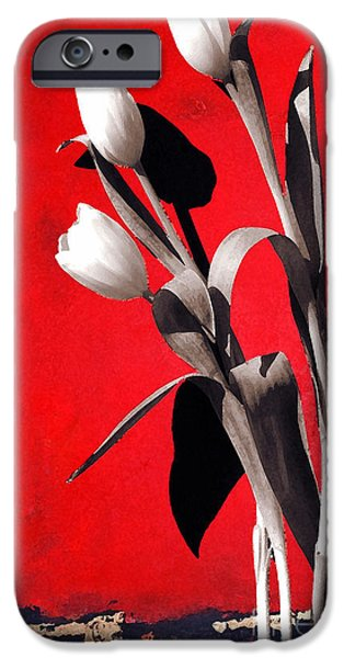 Shower Curtain iPhone Cases - Red Abstract Floral - White Tulips on Red iPhone Case by Anahi DeCanio - ArtyZen Studios