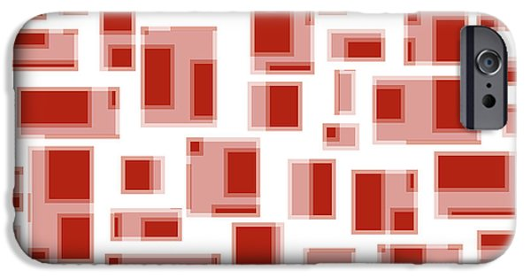 Abstract Design Drawings iPhone Cases - Red Abstract Rectangles iPhone Case by Frank Tschakert