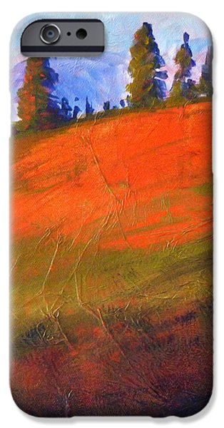 Business Paintings iPhone Cases - Red Alpine iPhone Case by Nancy Merkle