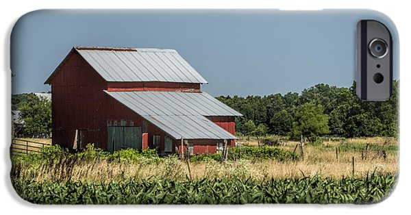 Amish Community Photographs iPhone Cases - Red Amish Barn and Corn Fields iPhone Case by Kathy Clark