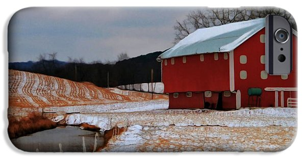 Red Barn In Winter Photographs iPhone Cases - Red Amish Barn In Winter iPhone Case by Dan Sproul