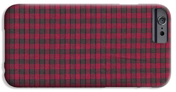 Weave iPhone Cases - Red And Black Plaid Pattern Textile Background iPhone Case by Keith Webber Jr