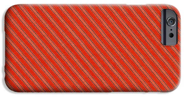 Texture iPhone Cases - Red And Black Striped Diagonal Textile Background iPhone Case by Keith Webber Jr