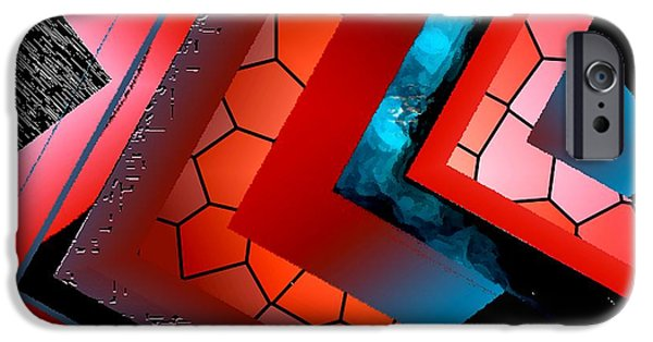 Transparency Geometric iPhone Cases - Red and Blue Abstract Art iPhone Case by Mario  Perez