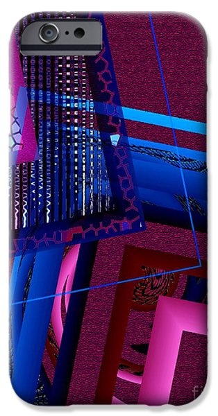 Transparency Geometric iPhone Cases - Red and Blue Geometric Art iPhone Case by Mario  Perez