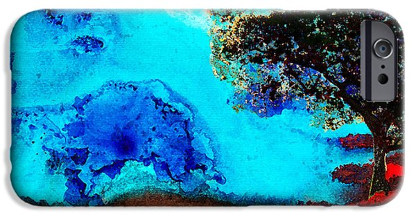 Blue Abstracts iPhone Cases - Red And Blue Landscape by Sharon Cummings iPhone Case by Sharon Cummings