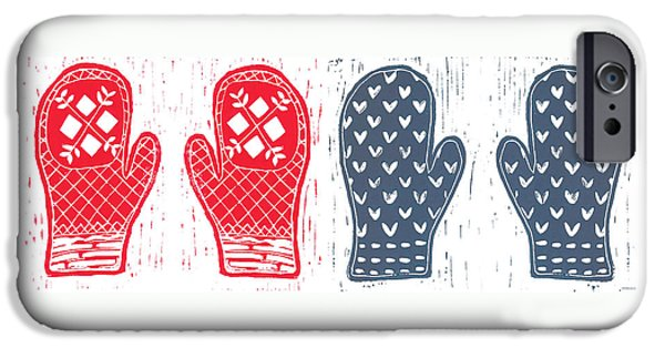 Printmaking Reliefs iPhone Cases - Red and Blue Nordic Mittens iPhone Case by Lynn-Marie Gildersleeve