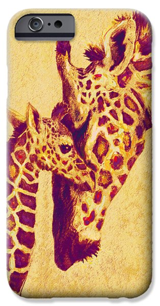 Giraffe Digital iPhone Cases - Red And Gold Giraffes iPhone Case by Jane Schnetlage