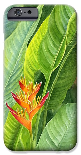 Yellow Bird Of Paradise iPhone Cases - Red and Gold Heliconia iPhone Case by Sharon Freeman