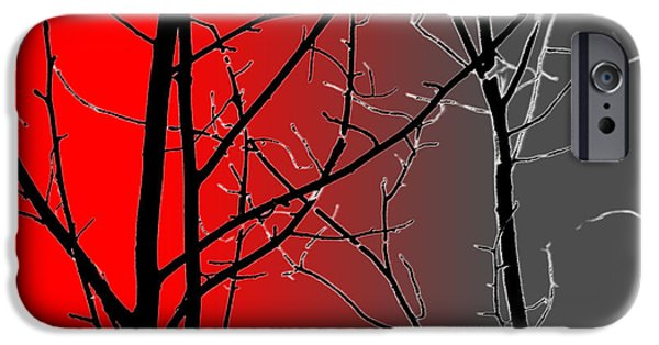 Surrealism Digital iPhone Cases - Red And Gray iPhone Case by Cynthia Guinn