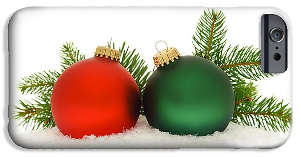 Festivities iPhone Cases - Red and green Christmas baubles iPhone Case by Elena Elisseeva