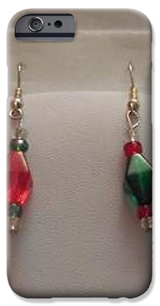 Christmas Jewelry iPhone Cases - Red and Green Christmas Earrings iPhone Case by Kimberly Johnson