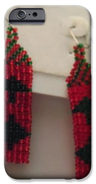 Christmas Jewelry iPhone Cases - Red and Green Christmas Tree Handwoven Earrings iPhone Case by Kimberly Johnson