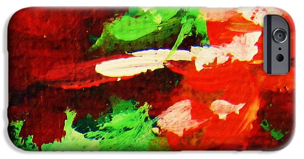 Abstract Expressionist iPhone Cases - Red and Green iPhone Case by John Clark