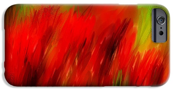 Floral Still Life Paintings iPhone Cases - Red And Green iPhone Case by Lourry Legarde