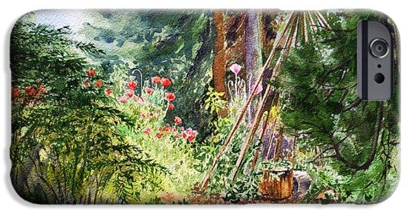 Pines iPhone Cases - Poppies Season In The Garden  iPhone Case by Irina Sztukowski
